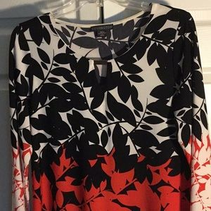 Covington Red White And Black Floral Dress